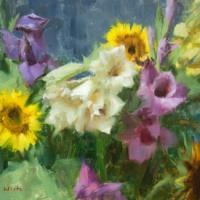 Gladiolas and Sunflower